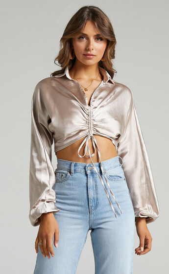 Rio Ruched Front Crop Top with Collar in Champagne Satin