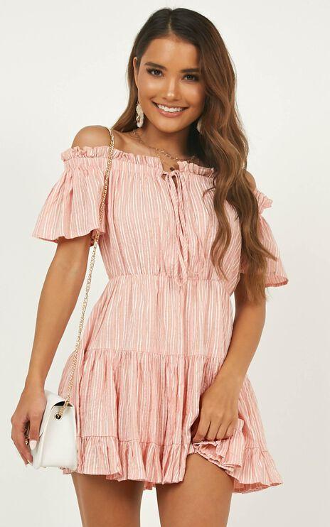 Wish Me Lucky Dress In Blush Stripe