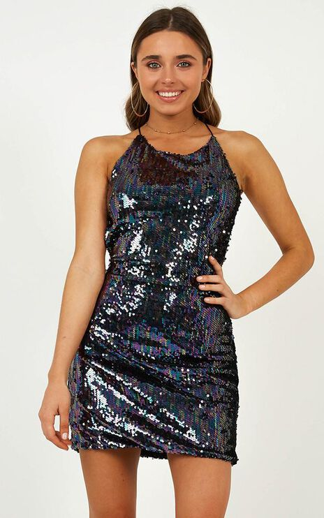 Just Have Fun Dress In Multi Sequins