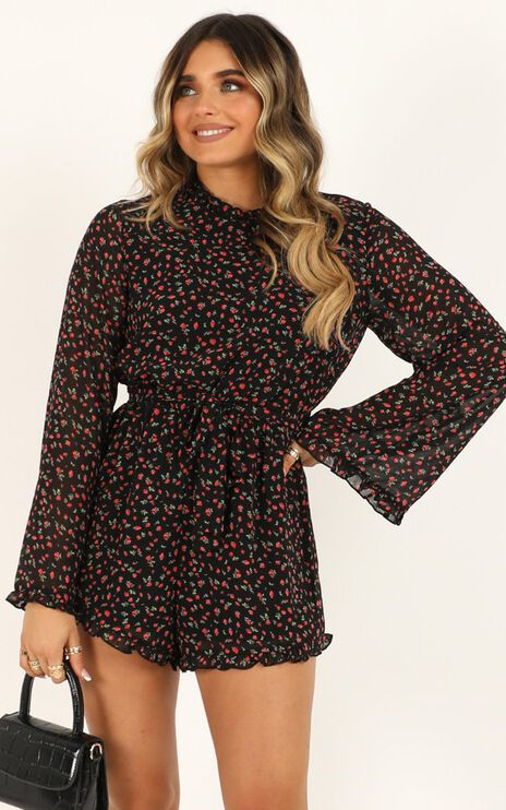 Secrets Of The Heart Playsuit in Black Floral