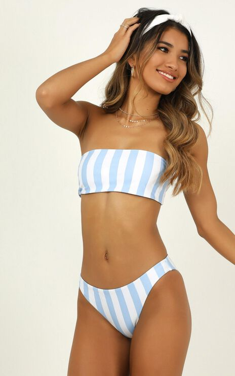 Lilah Bikini Bottoms In Blue Stripe