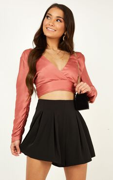 Come On Girl Top In Rose Satin