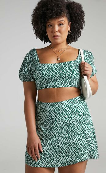 Are You Up To It Two Piece Set in Green Floral