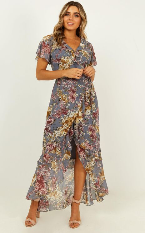 Light And Happiness Wrap Dress In Purple Floral