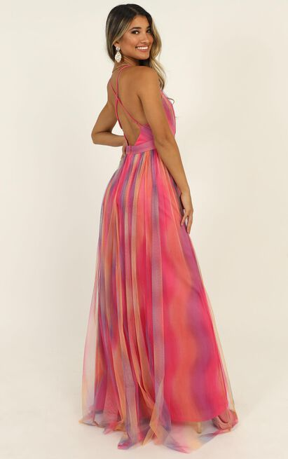 Sweet Romance Mesh Maxi Dress in pink multi - 12 (L), Pink, hi-res image number null