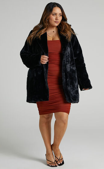 Leaning On You Coat in Black Faux Fur