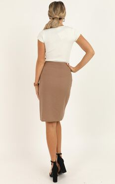 Work Diary Skirt In Mocha linen look