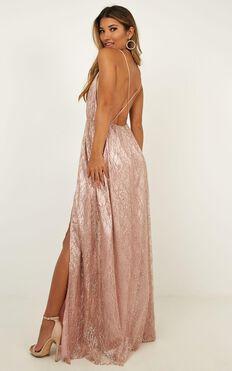 Pixi Love Maxi Dress In Blush Glitter