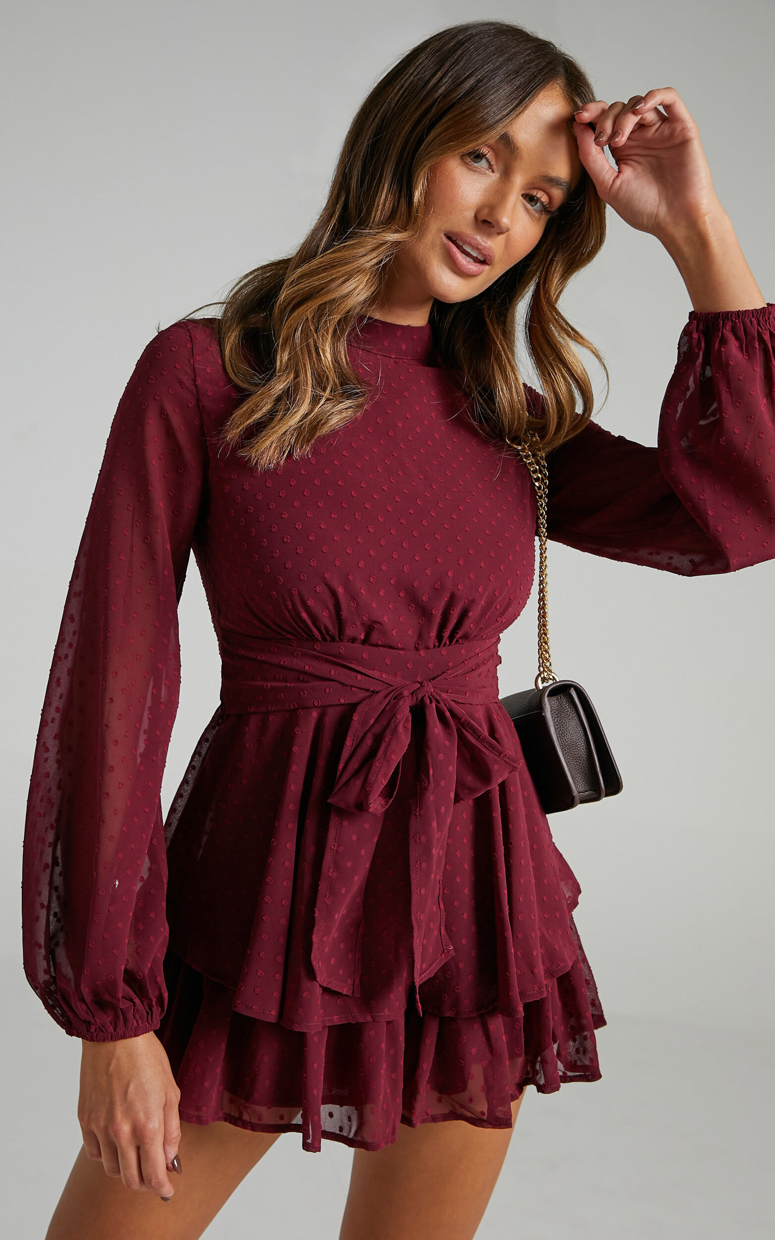 Bottom Of Your Heart Playsuit in Wine - 04, WNE7, super-hi-res image number null