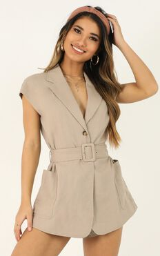 Speaking Of You Playsuit In Taupe