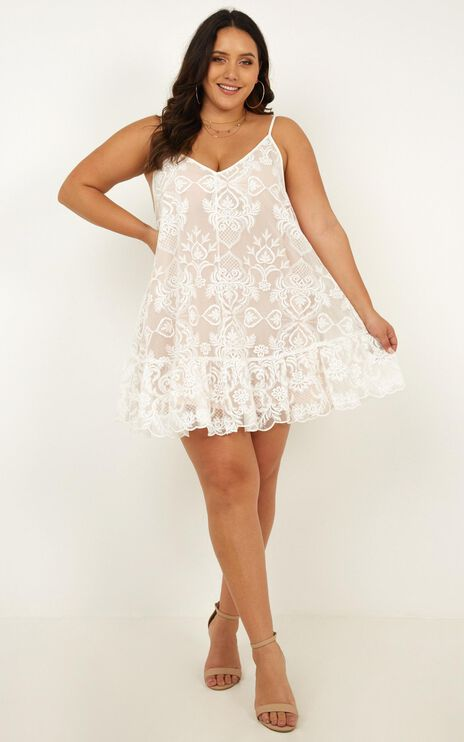 Lush Lover Dress In White Lace