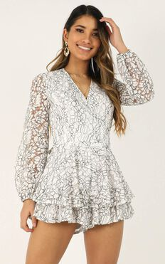 Communal Love Playsuit In White Lace