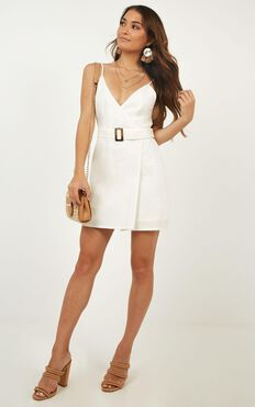 In A Rush Wrap Dress In White Linen Look