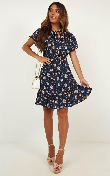 Just One Look Dress In Navy Floral