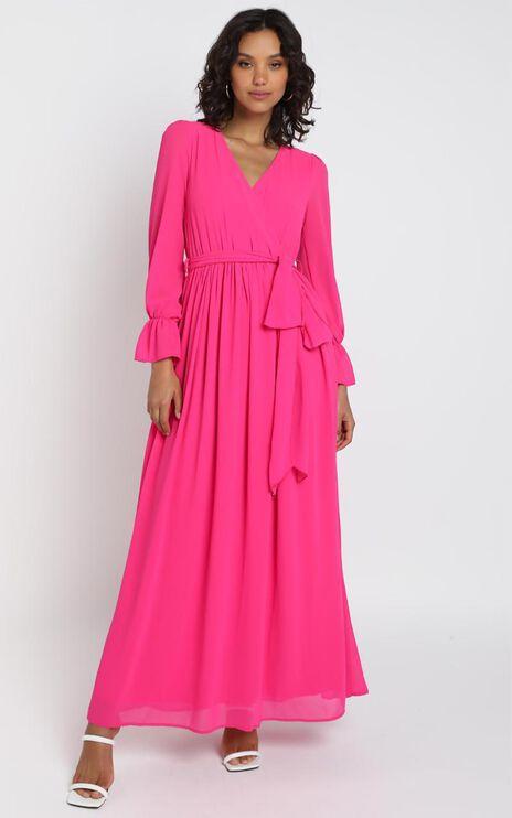 In Love Long Sleeve Maxi Dress in Fuschia