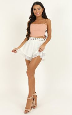 Taking Your Hand Shorts In White Lace