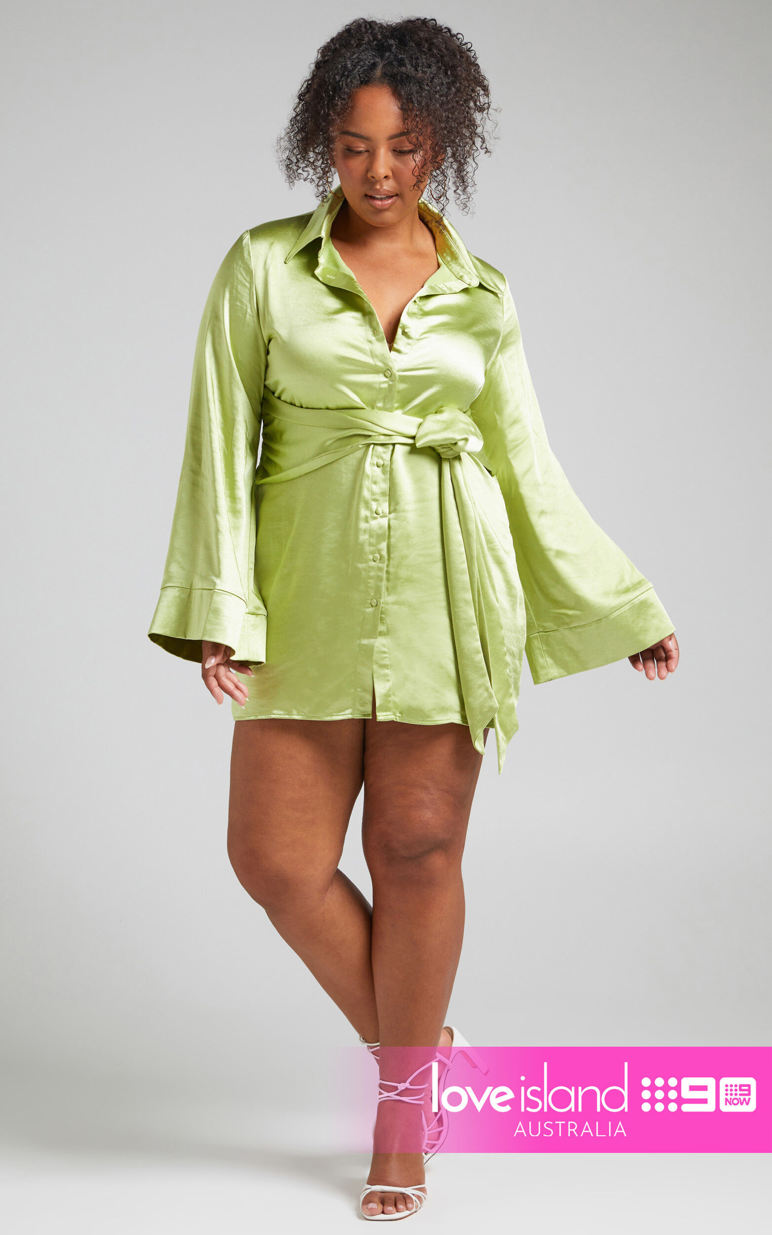Hadid Button Down Satin Shirt Dress with Waist Tie in Green - 06, GRN1, super-hi-res image number null