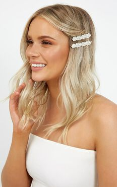 Out Of Love Hair Pin 2 Pack Set In Pearl