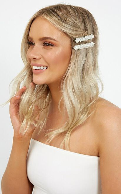 Out Of Love Hair Pin 2 Pack Set In Pearl, , hi-res image number null