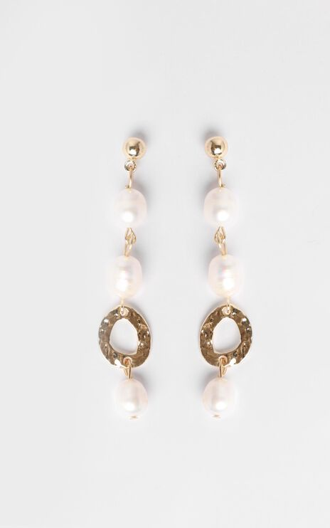 JT Luxe - Mira Pearl Drop Earrings in Gold