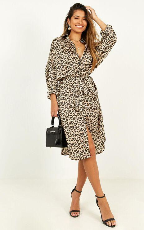 Reach For Her Shirt Dress In Leopard Print Satin
