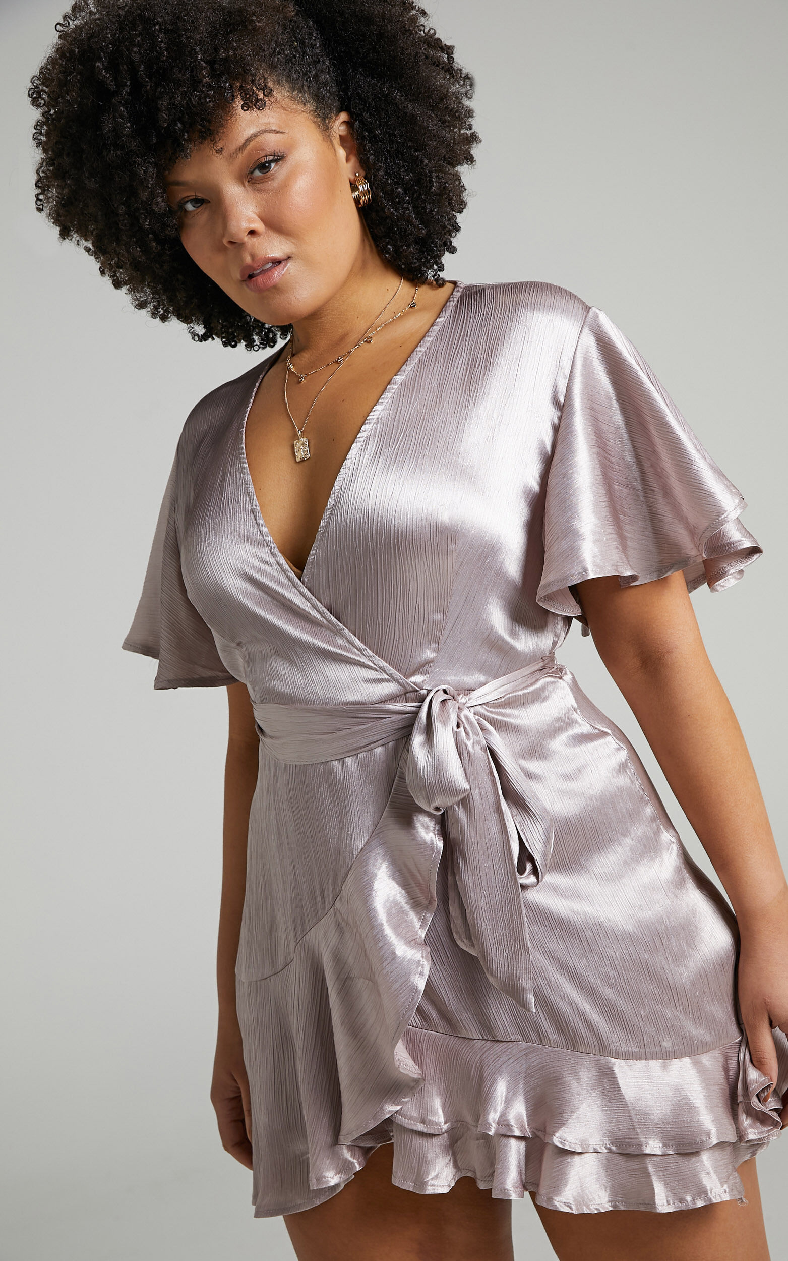 All I Want To Be Ruffle Mini Dress in Silver Satin - 04, SLV4, super-hi-res image number null