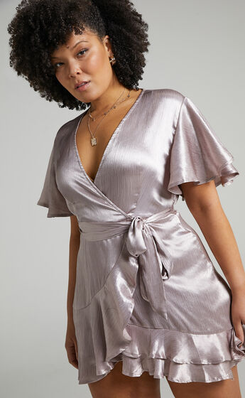 All I Want To Be Ruffle Mini Dress in Silver Satin