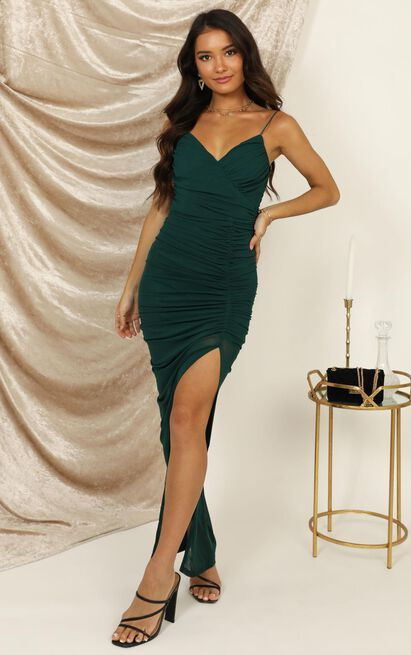 Turn Back Dress In Emerald - 16 (XXL), Green, hi-res image number null