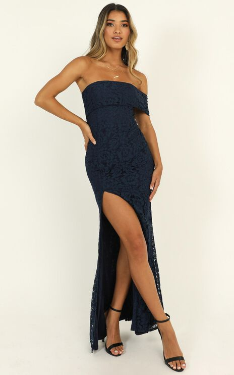 Just Hold On Dress In Navy Lace