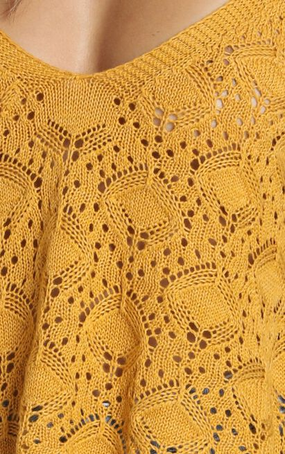Falling Droplets Knit Top in mustard - 20 (XXXXL), Mustard, hi-res image number null