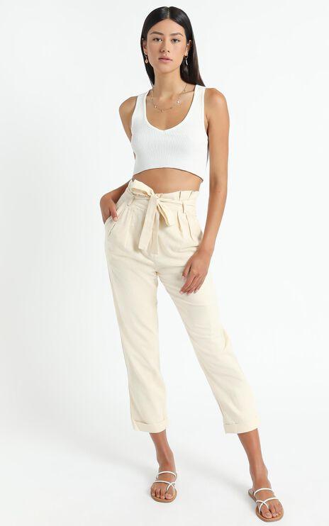 Not Your Business Pants In Beige Linen Look