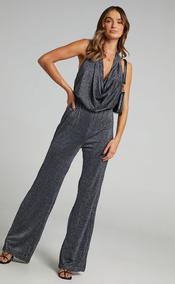 Amaliee Cowl Front Jumpsuit in Black