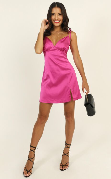 Sipping On Margaritas Mini Dress In Hot Pink Satin