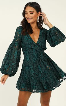 Autumn Leaves Dress In Teal Lace
