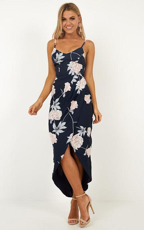 Just This Once Dress In Navy Floral