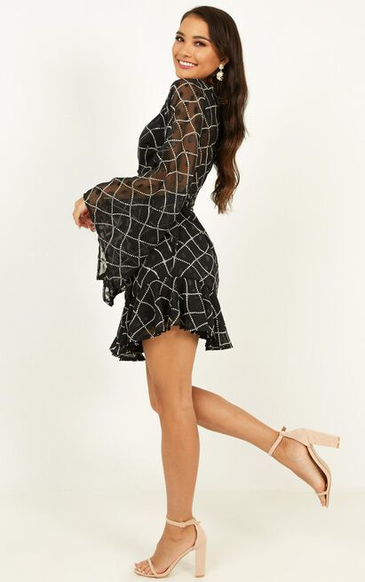 Another Reality dress in black print - 12 (L), Black, hi-res image number null