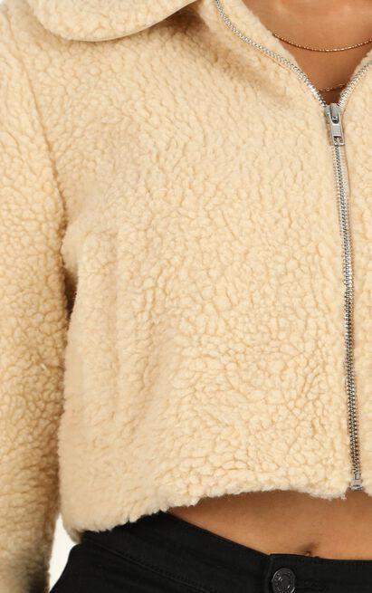 Forever Cuddling Jacket In Beige Teddy, Beige, hi-res image number null