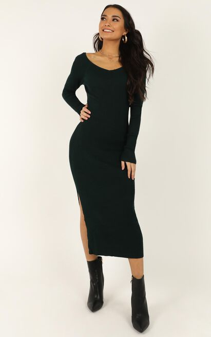 Living For It Knit Dress in emerald - 20 (XXXXL), Green, hi-res image number null