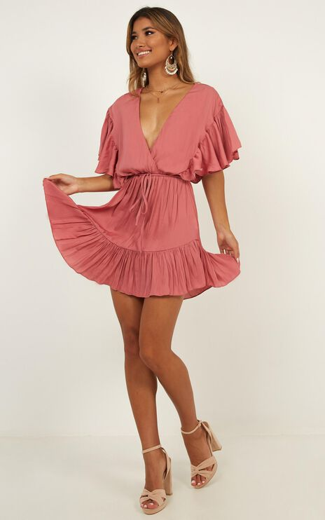 No Wasting Time Dress In Dusty Rose