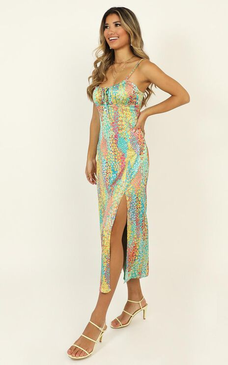 Not Your Gal Midi Dress In Multi Floral Satin