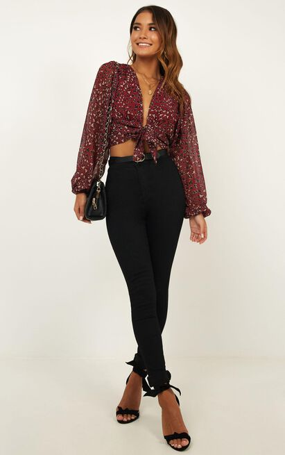 What More Can I Say Top In Wine Leopard - 4 (XXS), Wine, hi-res image number null