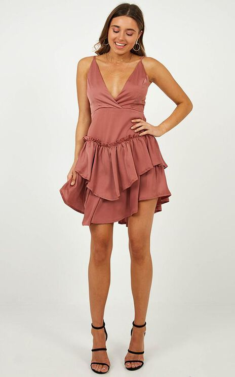 One Moment In Time Dress In Dusty Rose Satin