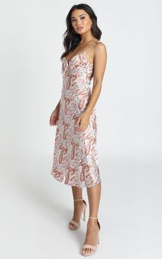 All The Distance Dress In Rust Paisley Satin