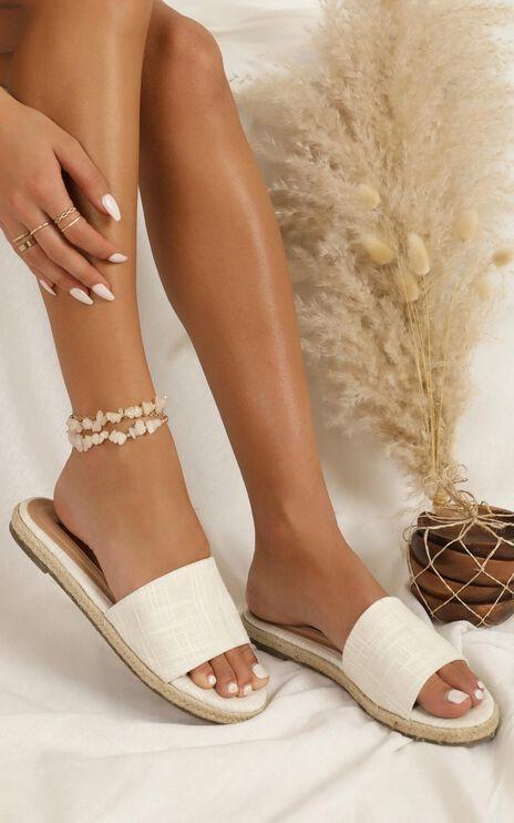 Showpo X Billini - Bali Slides In White Linen