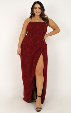 They Crisscrossed Maxi Dress In Wine Jacquard