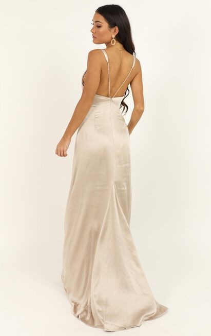 When The Lights Are Low Dress in champagne satin - 14 (XL), Beige, hi-res image number null