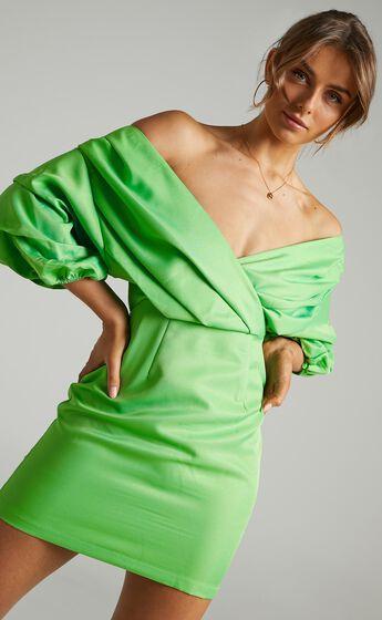 Anastasija Off Shoulder Mini Dress in Apple Green