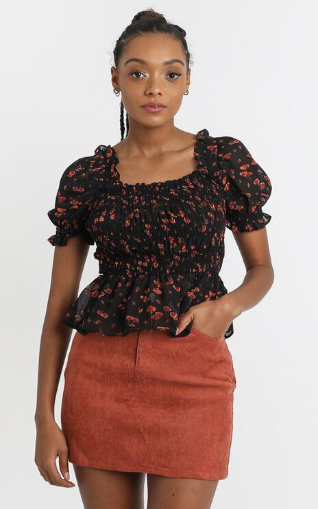Karina Top in Black Floral