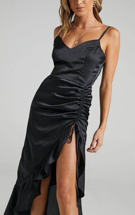 Theoden Dress in Black Satin