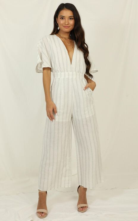 Dont Miss Out Jumpsuit In Light  Blue Stripe